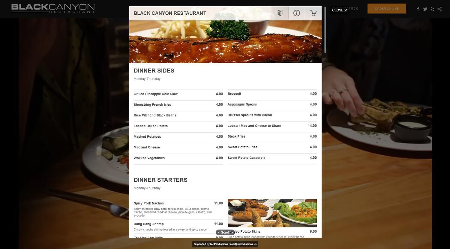 Online Ordering Main Page